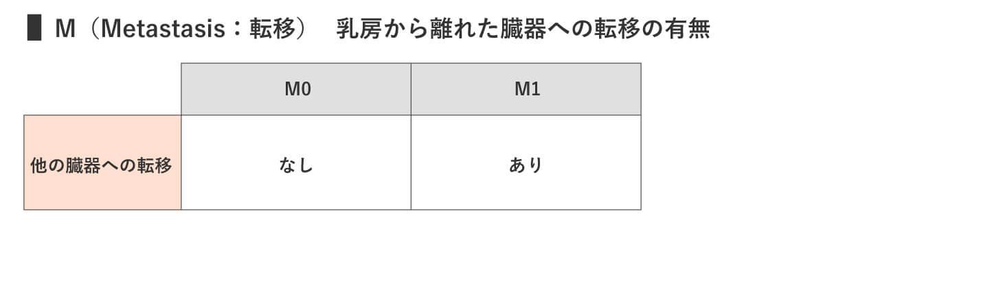 M(Metastasis:転移)乳房から離れた臓器への転移の有無