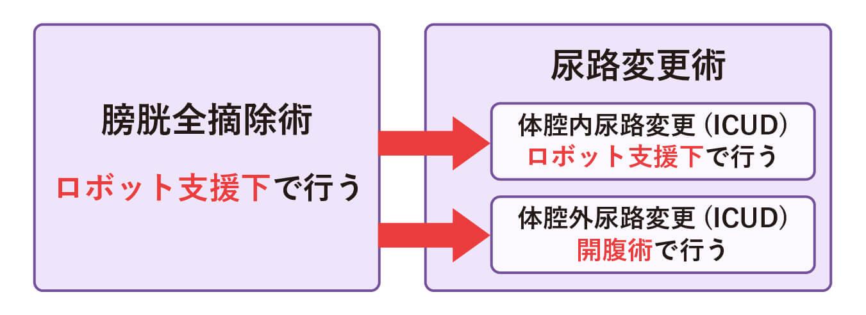筋層浸潤性膀胱がんの手術療法では、「膀胱全摘除術」の後に「尿路変更術」を行う